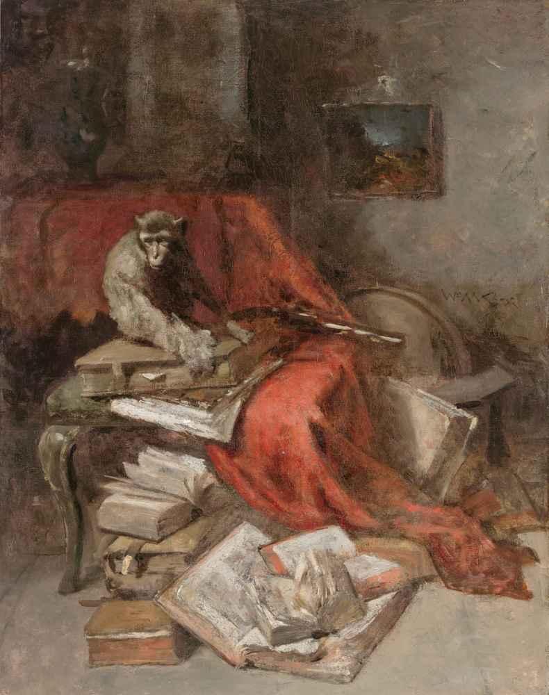 Monkeying with Literature - William Merritt Chase