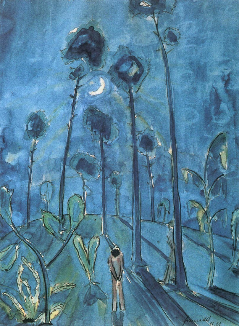 Moon landscape (two figures) - Walter Gramatte
