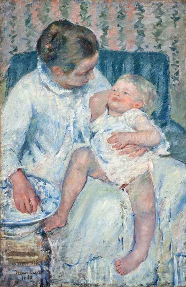 Mother About to Wash Her Sleepy Child - Mary Cassatt