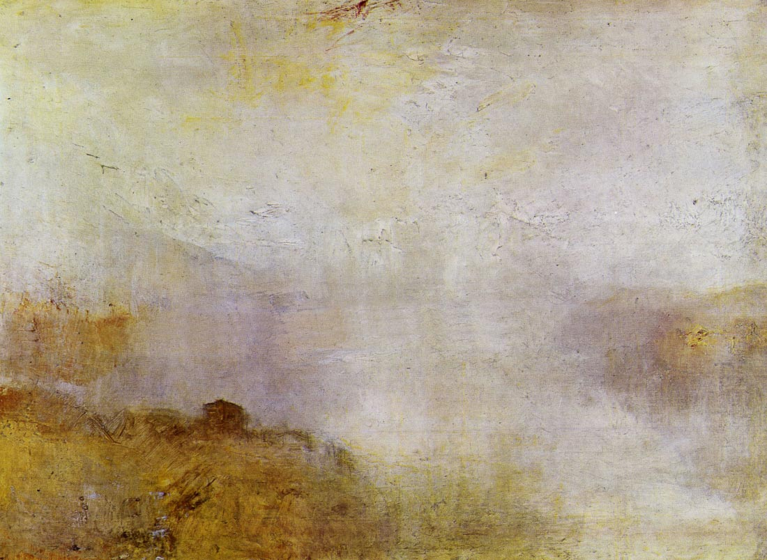 Mountain scene with lake and cottage - Joseph Mallord Turner