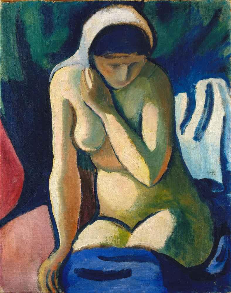 Naked Girl with Headscarf - August Macke