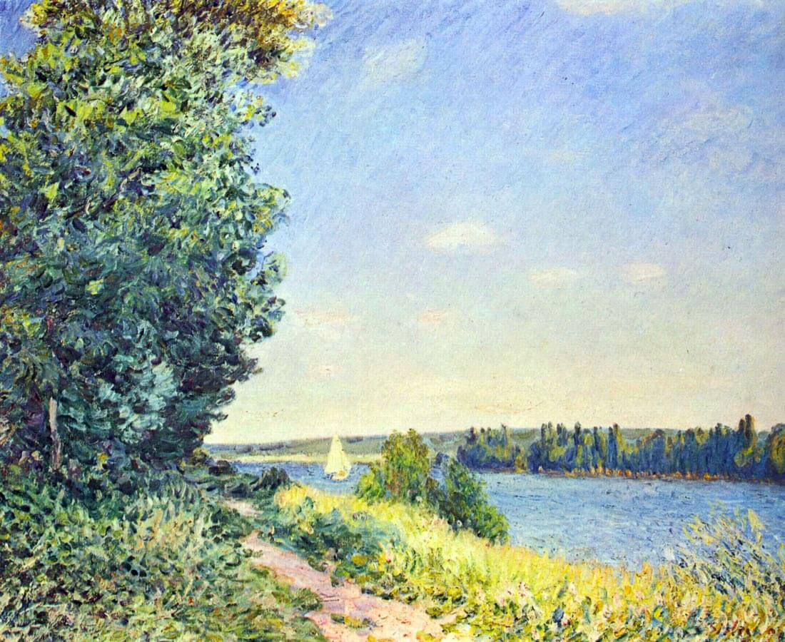 Normandy, path on the water, in the evening at Sahurs - Sisley