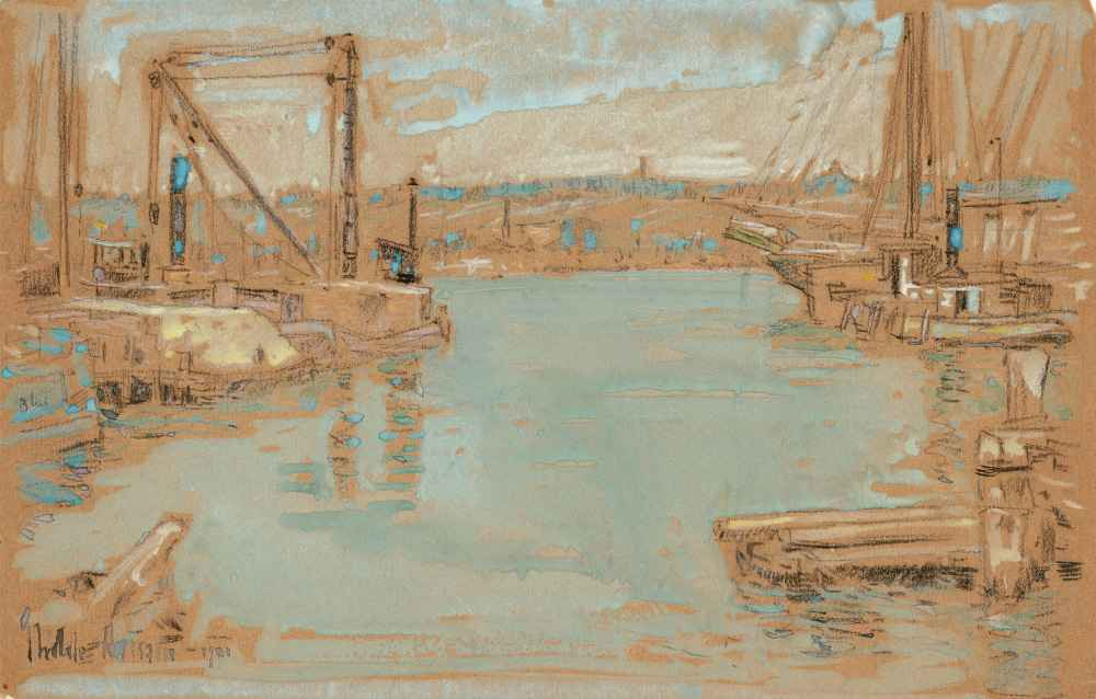 North River Dock, New York - Childe Hassam