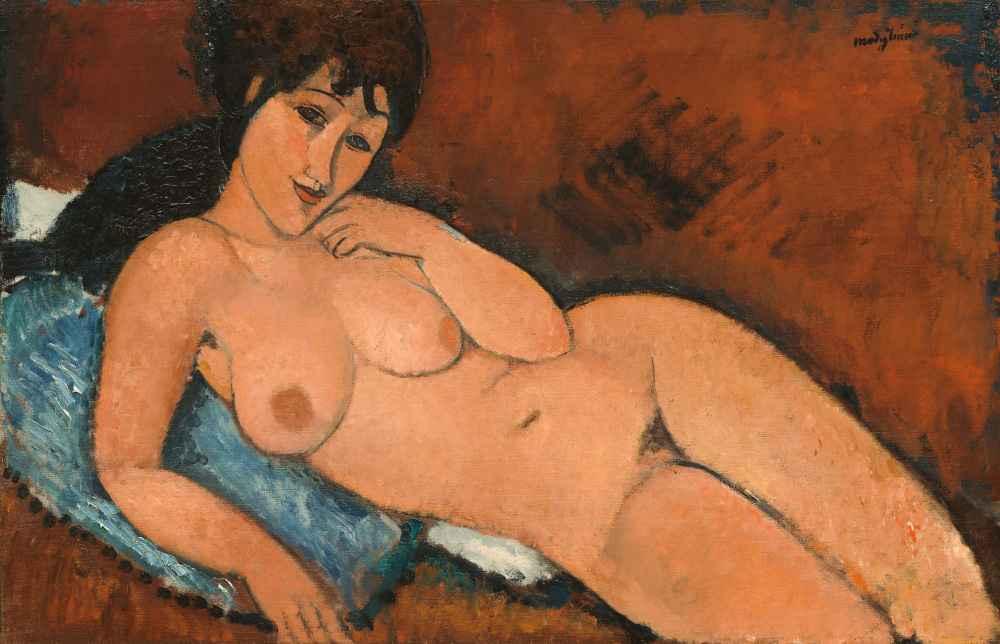 Nude on a Blue Cushion - Amedeo Modigliani