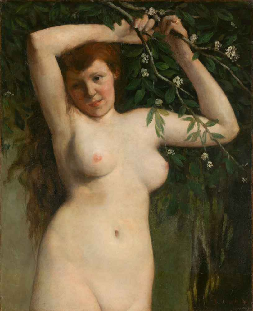 Nude with Flowering Branch - Gustave Courbet