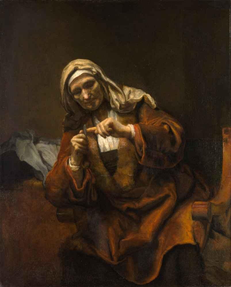 Old Woman Cutting Her Nails - Rembrandt Harmenszoon van Rijn