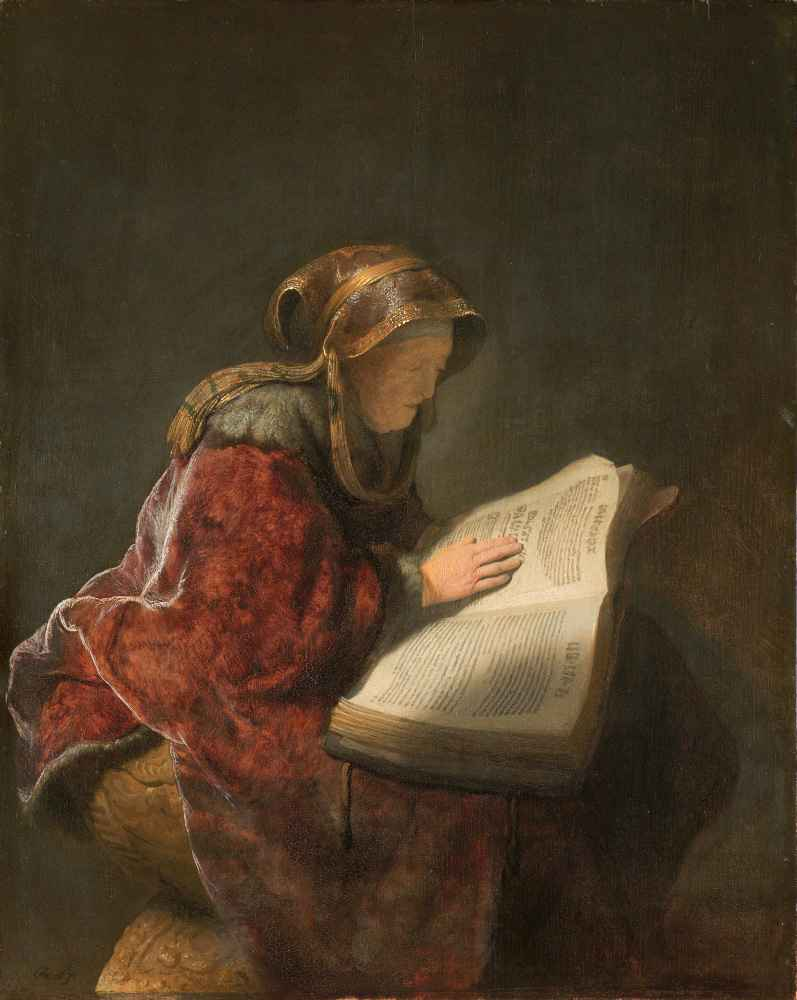 Old Woman Reading, Probably the Prophetess Anna - Rembrandt Harmenszoo