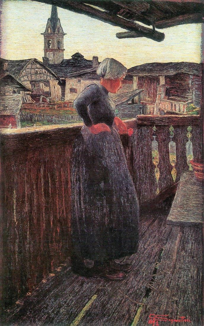 On the balcony - Giovanni Segantini