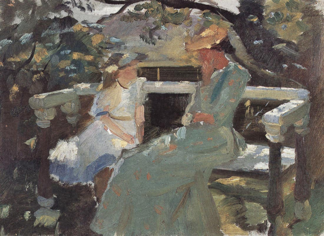 On the garden bench, and Anna Hekga Thorup - Anna Ancher