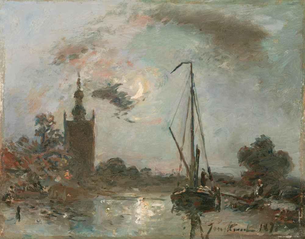 Overschie in the Moonlight - Johan Barthold Jongkind
