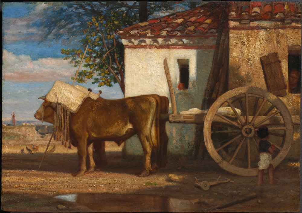 Oxen before a Farmhouse at Le Verrier - Joseph DeCamp
