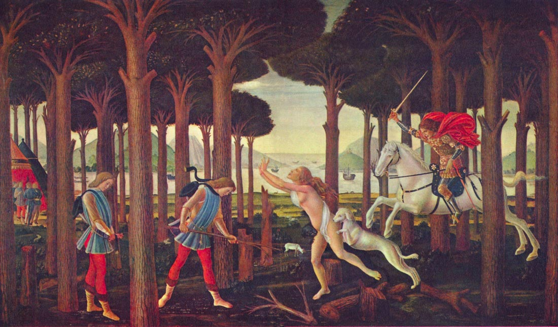 Paintings on Boccaccio Decameron First episode - Botticelli