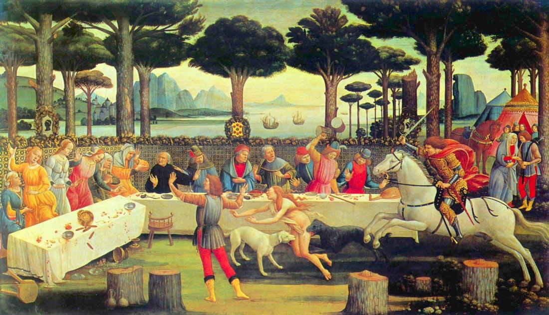 Paintings on Boccaccio Decameron Third episode - Botticelli