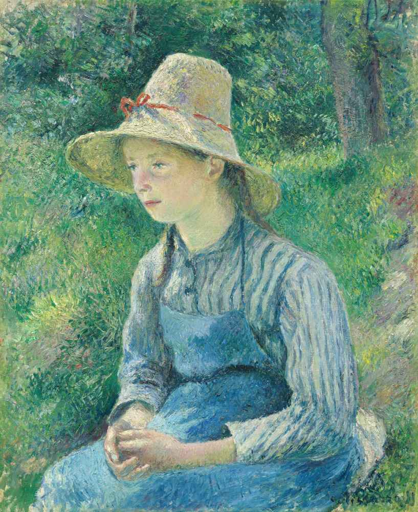 Peasant Girl with a Straw Hat - Camille Pissarro