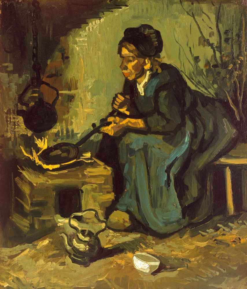 Peasant Woman Cooking by a Fireplace - Vincent van Gogh