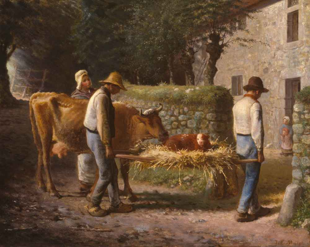 Peasants Bringing Home a Calf Born in the Fields - Jean Francois Mille