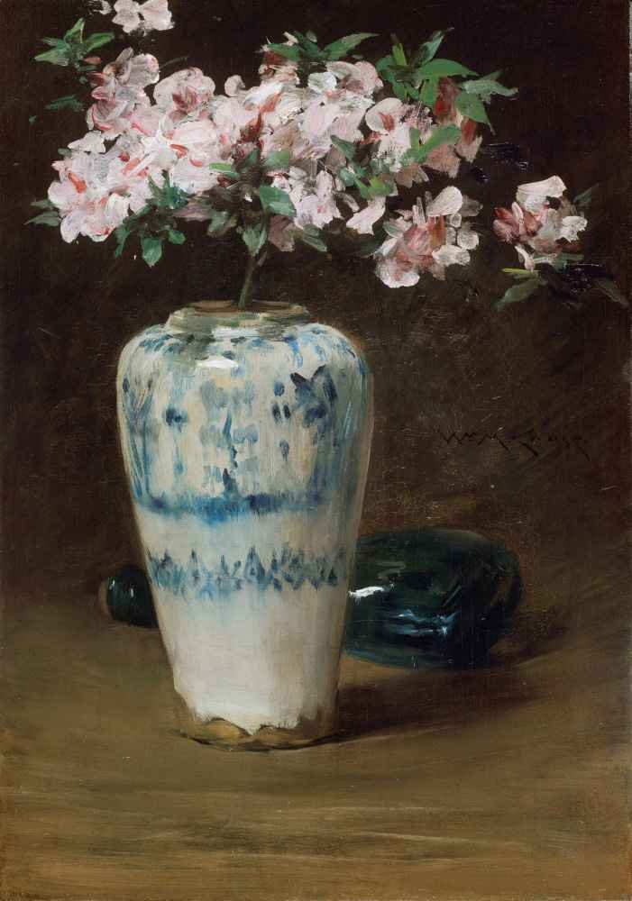 Pink Azalea Chinese Vase - William Merritt Chase