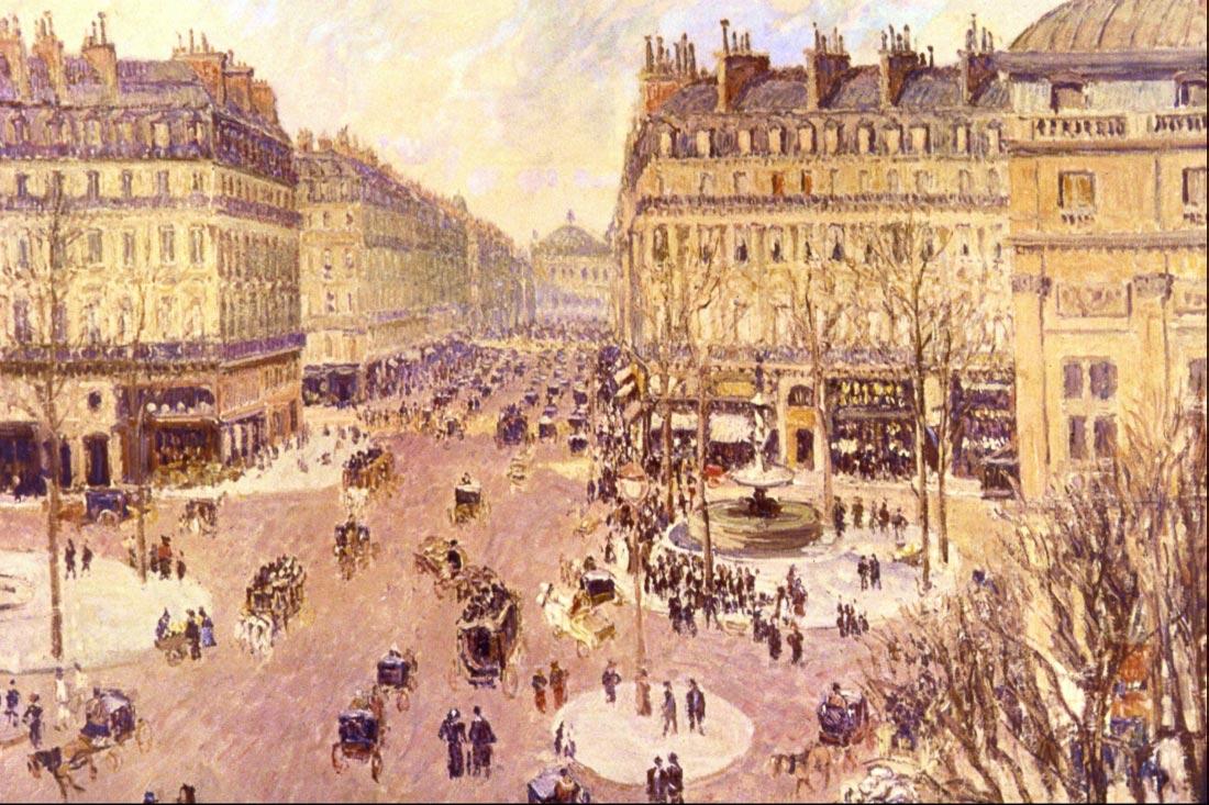 Place du Theatre Francais, Soleil - Pissarro