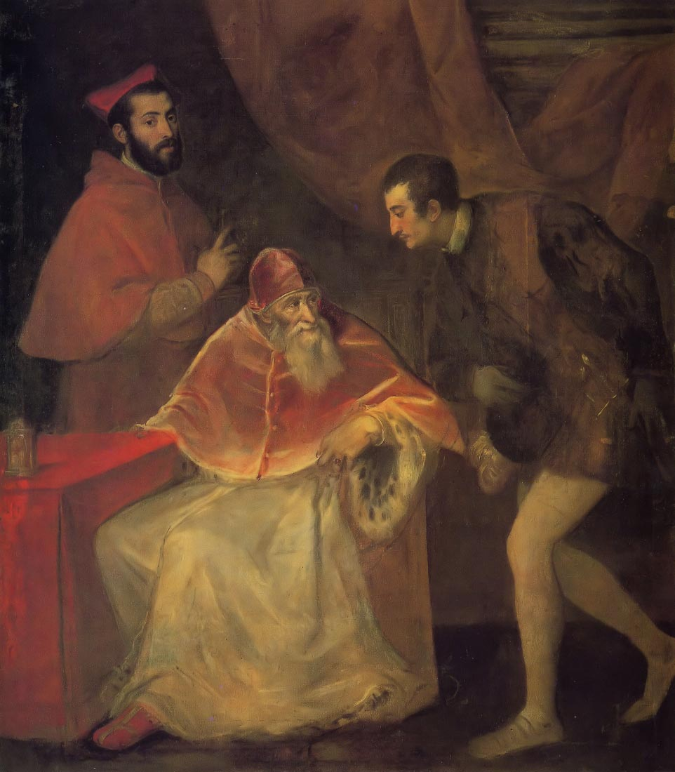 Pope Paul III and nephews - Titian