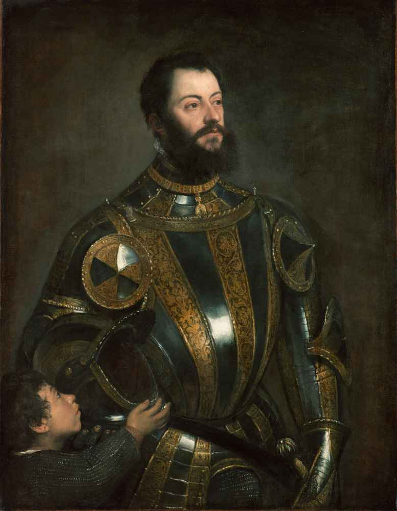 Portrait of Alfonso de Avalos, Marchese del Vasto, in Armor with a Pag