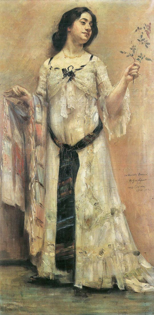 Portrait of Charlotte Berend in a white dress - Lovis Corinth