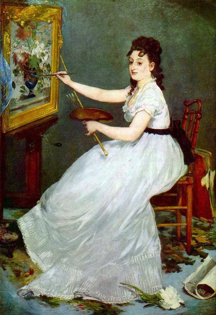 Portrait of Eva Gonzalés in Manet studio - Manet