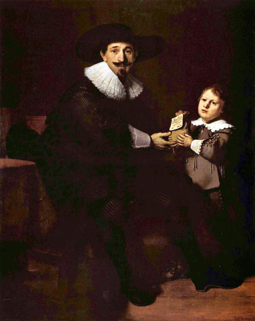 Portrait of Jan and his son Pellicorne - Rembrandt