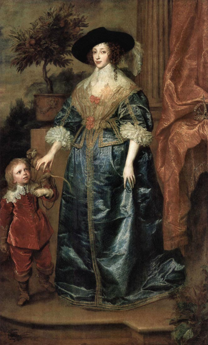 Portrait of Queen Henrietta Maria, with a dwarf - Van Dyck