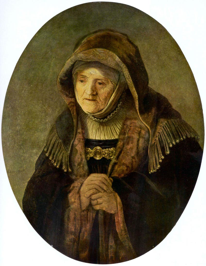 Portrait of Rembrandts mother in an Oval - Rembrandt