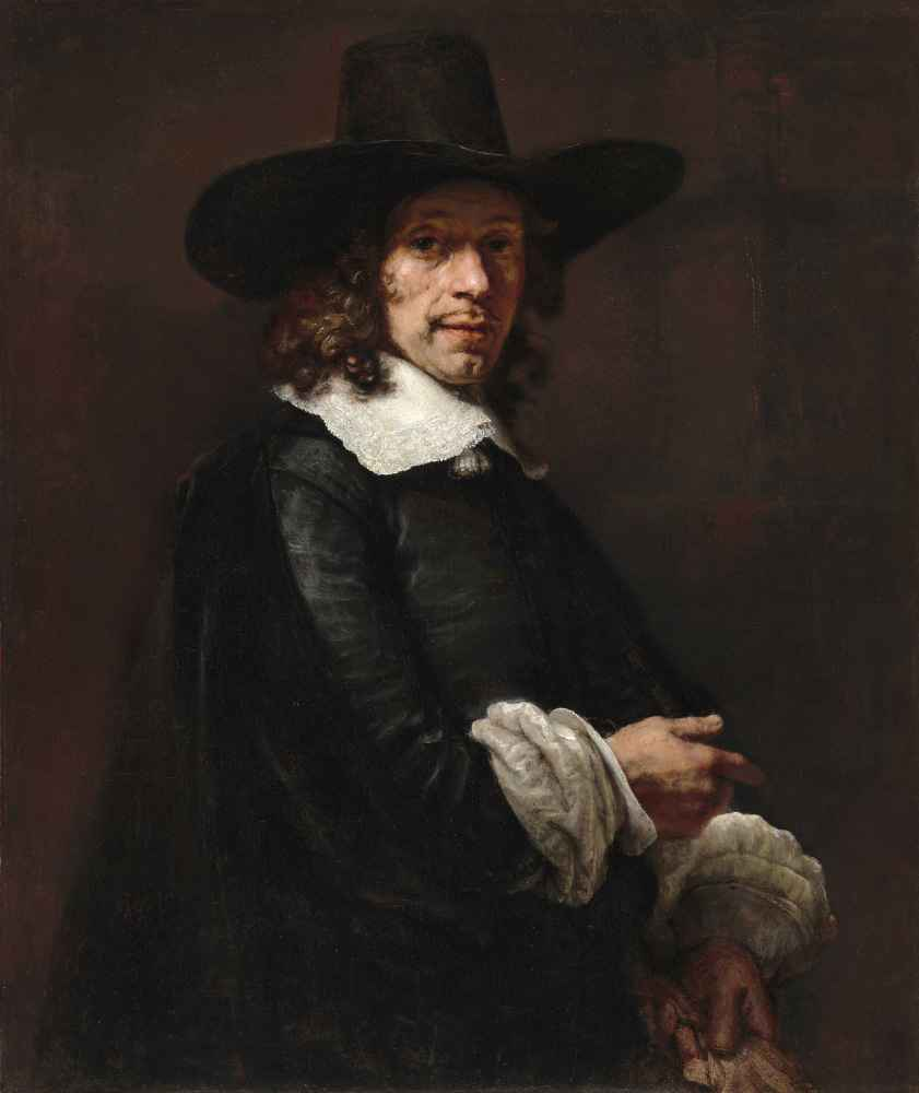 Portrait of a Gentleman with a Tall Hat and Gloves - Rembrandt Harmens