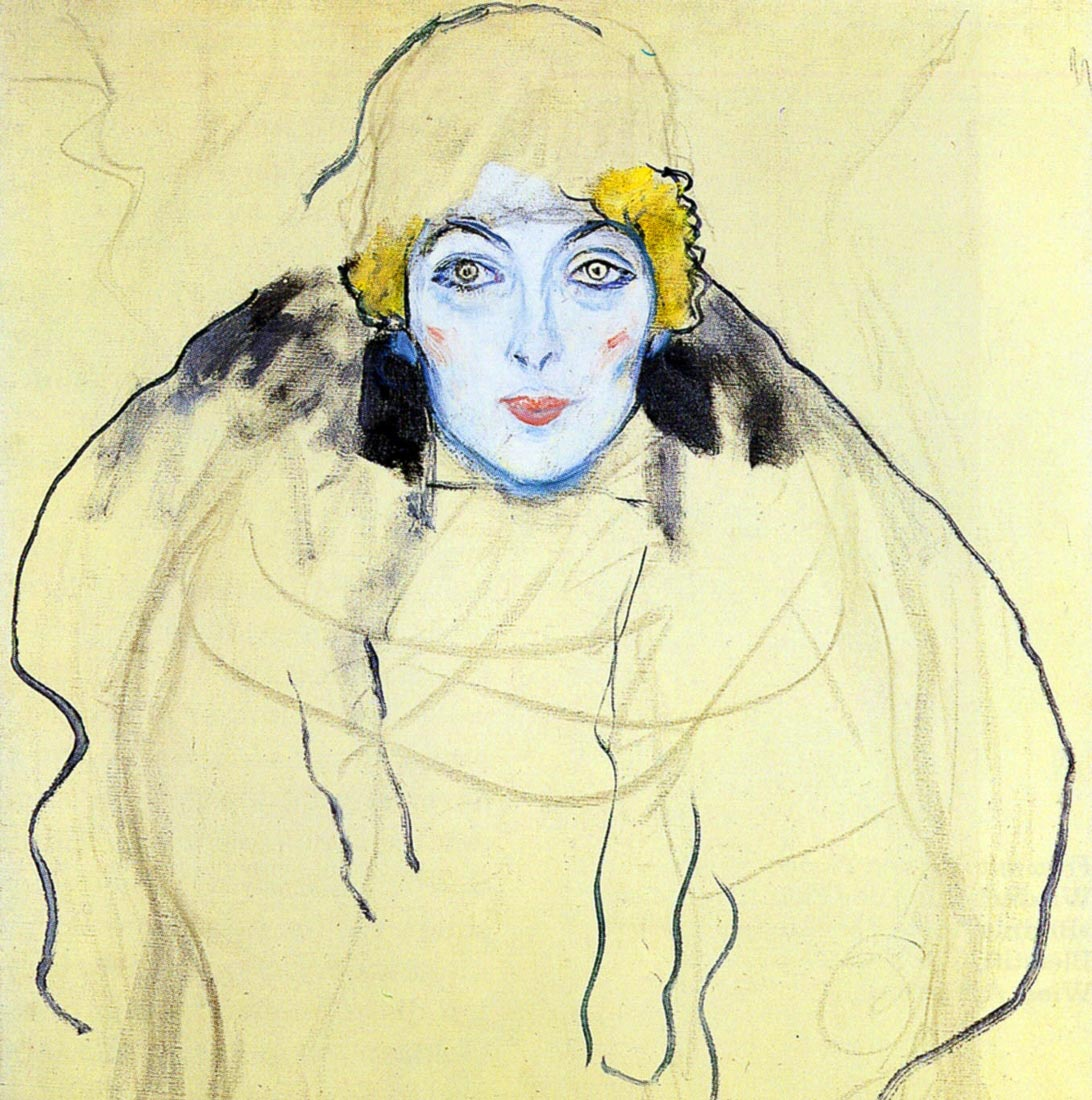 Portrait of a Lady  en face (unfinished) 1917 - Klimt
