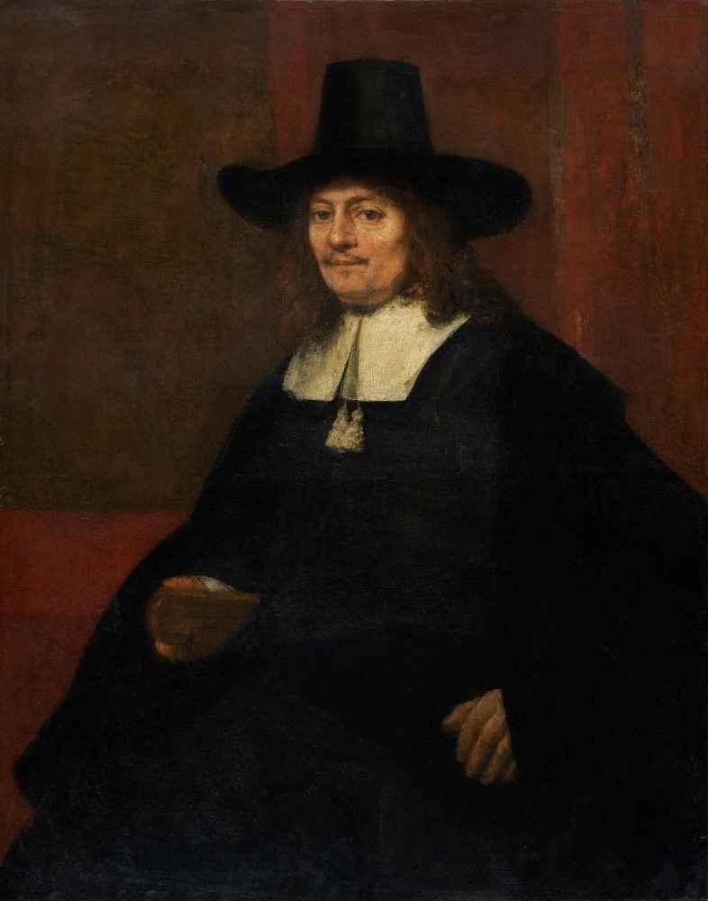 Portrait of a Man in a Tall Hat - Rembrandt Harmenszoon van Rijn
