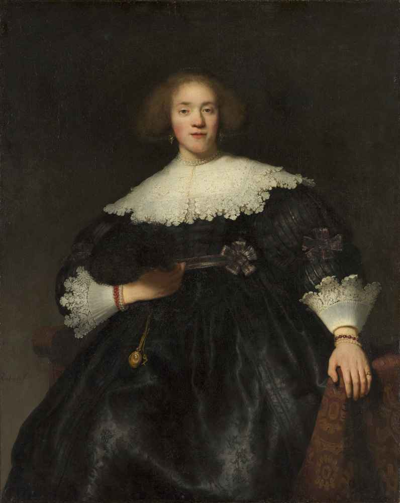 Portrait of a Young Woman with a Fan - Rembrandt Harmenszoon van Rijn