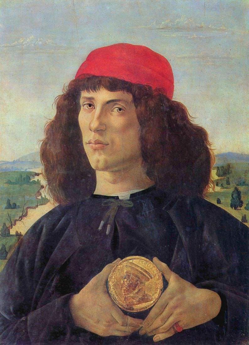 Portrait of a man with a medal of Cosimo the Elder - Botticelli