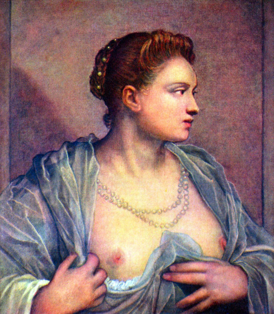 Portrait of a woman with bare breasts - Tintoretto