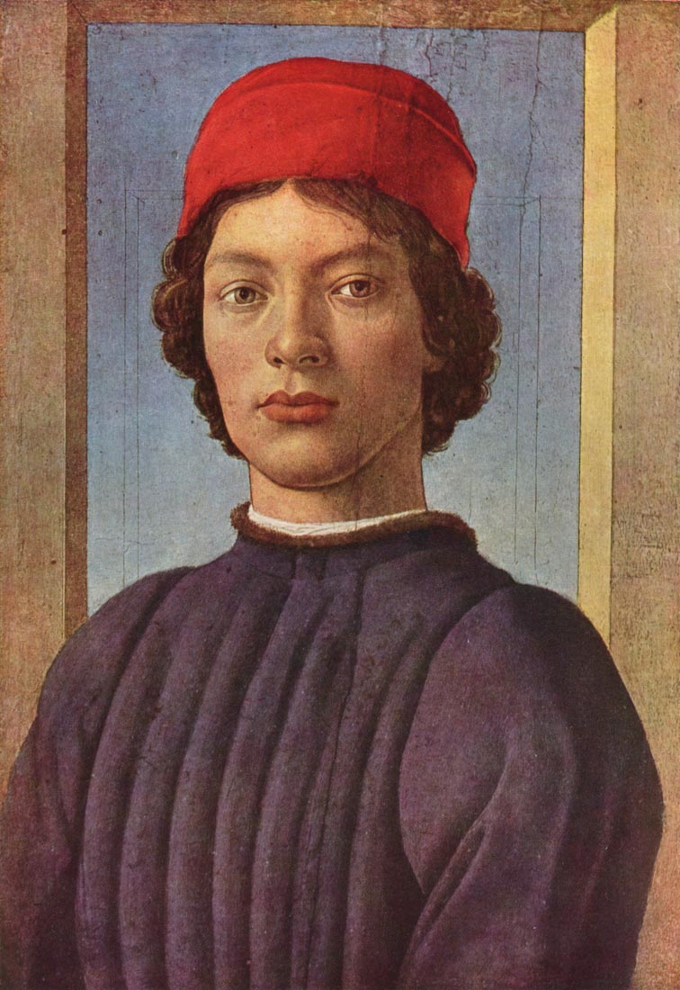 Portrait of a young man with red hat 2 - Botticelli