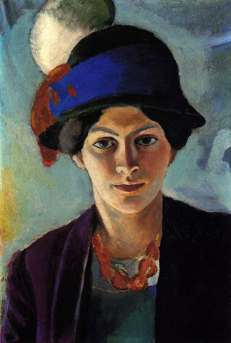 Portrait of the wife of the artist with a hat - August Macke