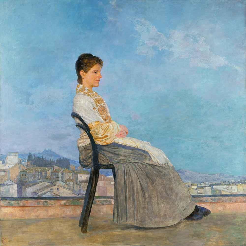 Portrait roman woman flat roof rome - Max Klinger