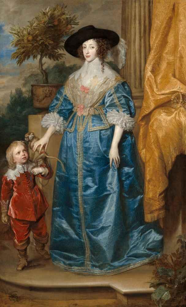 Queen Henrietta Maria with Sir Jeffrey Hudson - Antoon van Dyck