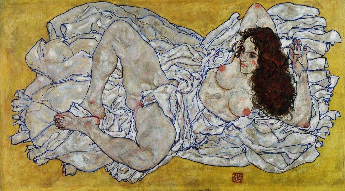 Resting nude - Schiele