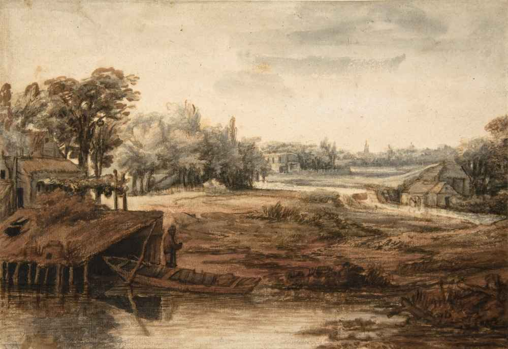 River Landscape with a Man Standing by a Boathouse - Philips Koninck