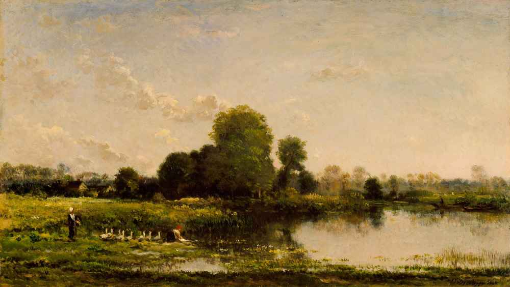 Riverbank with Fowl - Charles-Francois Daubigny