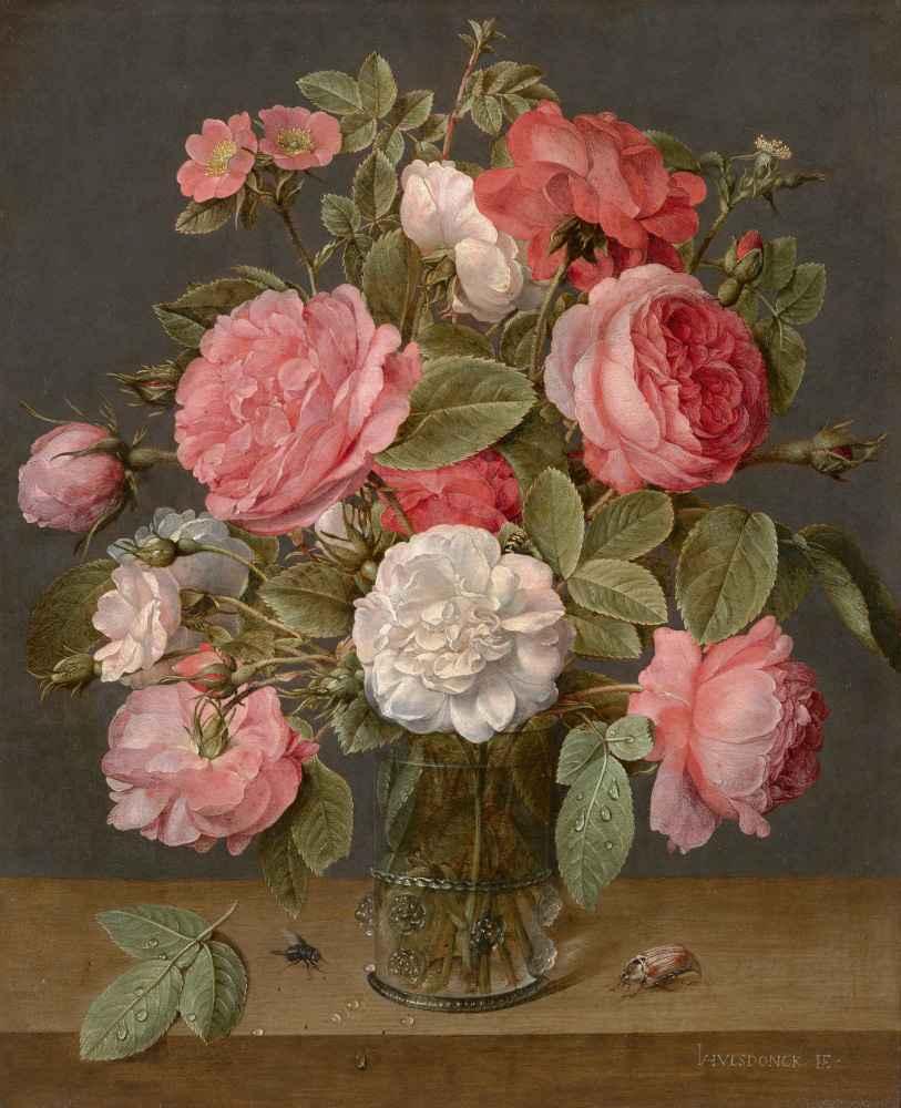 Roses in a Glass Vase - Jacob van Hulsdonck