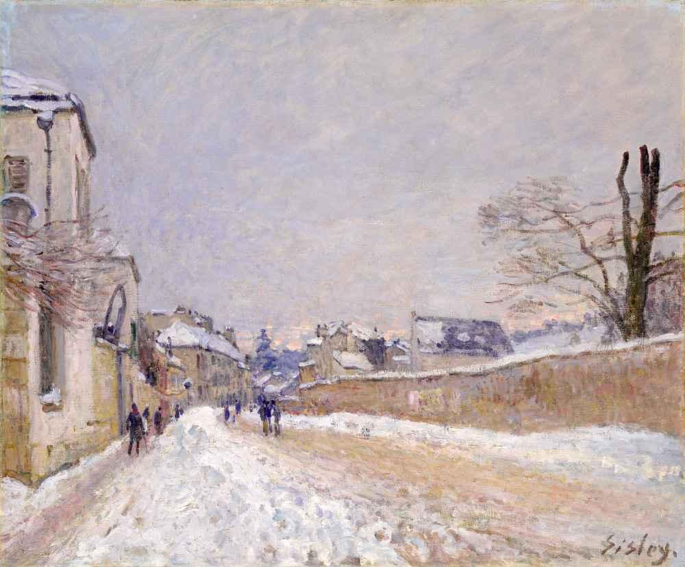 Rue Eugène Moussoir at Moret - Winter - Alfred Sisley