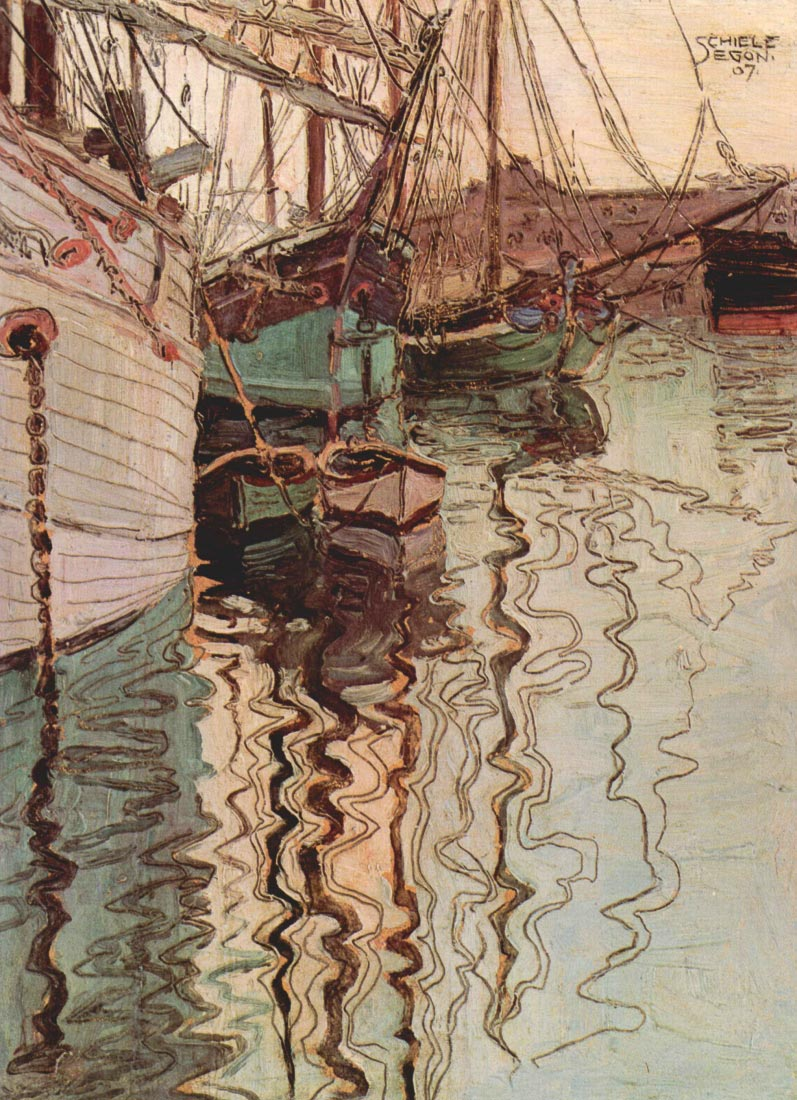 Sailboats in wellenbewegtem water (The port of Trieste) - Schiele
