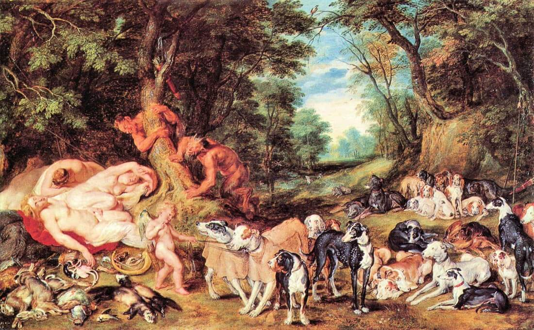 Satyrs and Hounds - Rubens