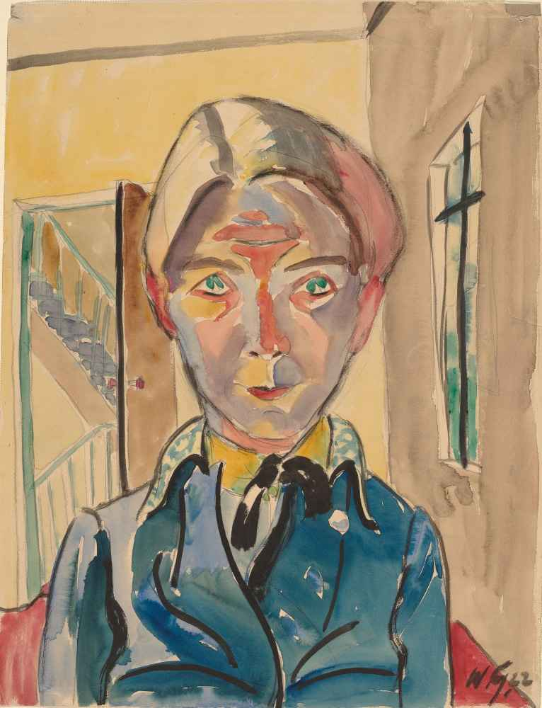 Self-Portrait in Front of Stairs (Selbst vor Treppe) - Walter Gramatte