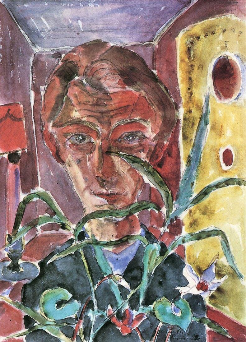 Self Portrait in Paris (behind plants) - Walter Gramatte