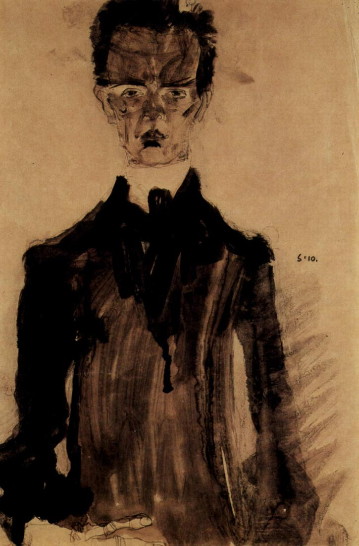 Self-Portrait in a black robe - Schiele