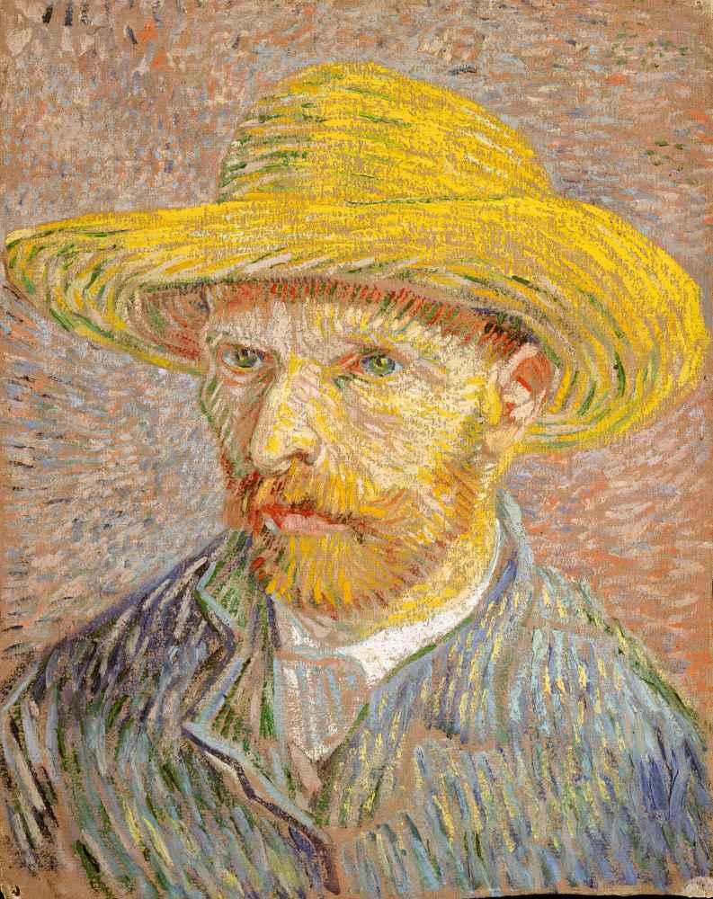 Self-Portrait with a Straw Hat - Vincent van Gogh